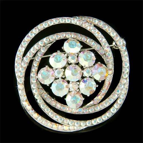 Swarovski Crystal Swirl Flower Wreath Wedding Gown Dress Brooch