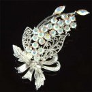Swarovski Crystal Floral Wedding Flower Pendant Bouquet Brooch