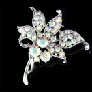 Bridal Swarovski Crystal Wedding Lily Flower Bouquet Pin Brooch