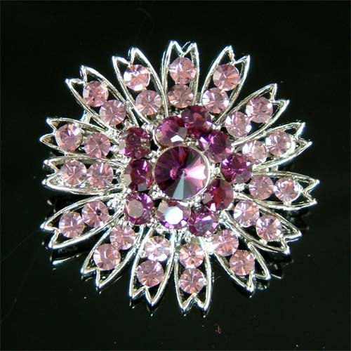 Purple Swarovski Crystal Flower Cluster Bridal Starburst Brooch