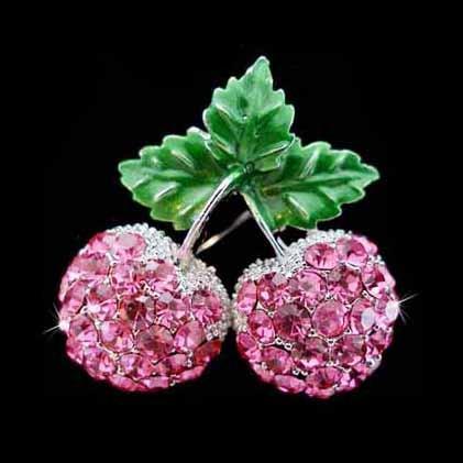Sexy Swarovski Crystal Juicy Pink Cherry Pendant Brooch 2 in 1