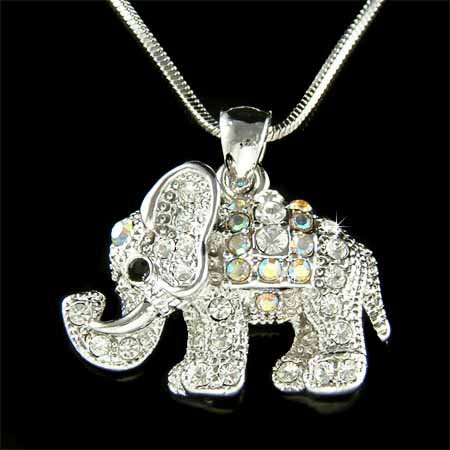 Swarovski Crystal Lucky Elephant Pendant Chain Necklace