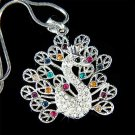 Swarovski Crystal Peacock Peafowl Peahen Bird Pendant Necklace