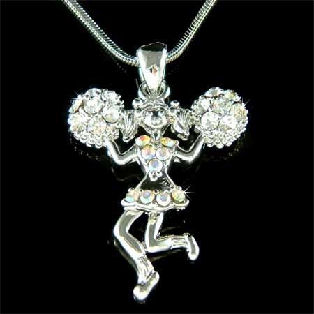 Swarovski Crystal Hot Sport Team Cheerleader Pendant Necklace