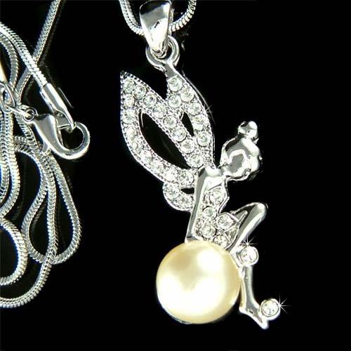 Swarovski Crystal Tinkerbell Pearl Magic Ball Pendant Necklace