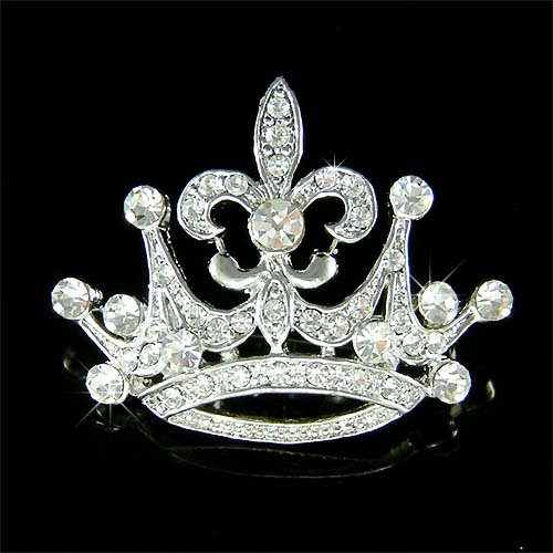 Clear 2 in 1 Crown Fleur De Lis Swarovski Crystal Pendant Brooch