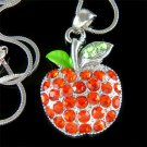 Juicy Hot Red Apple Swarovski Crystal Pendant Chain Necklace
