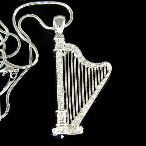 Swarovski Crystal Clear Irish Wedding Celtic Harp Charm Necklace