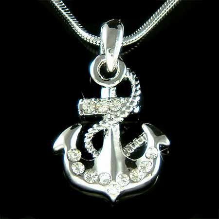 Swarovski Crystal Beach Wedding Yacht Anchor Nautical Necklace