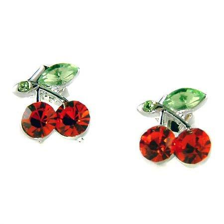 Swarovski Crystal Juicy Hot Red Cherry Stud Earrings