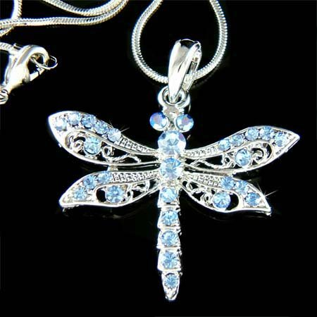 Swarovski Crystal Bridal Wedding Blue Dragonfly Pendant Necklace