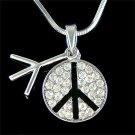 Swarovski Crystal Boho No War Peace Sign Awareness Necklace