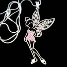 Big Swarovski Crystal Pink Tinkerbell Fairy Angel Star Necklace