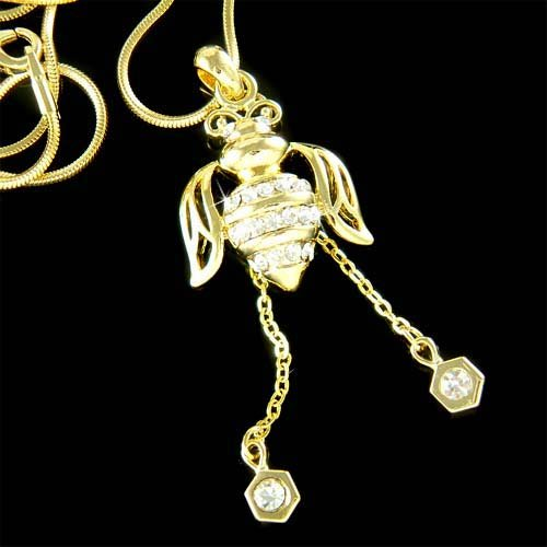 Swarovski Crystal Gold Beetle Bumble Bee Honeycomb Necklace