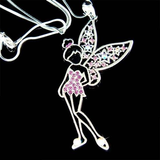 Swarovski Crystal Purple Tinkerbell Fairy Angel Star Necklace