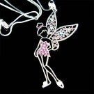 Swarovski Crystal Purple Tinkerbell Fairy Angel Star Necklace