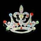 Rainbow Crown Fleur De Lis Swarovski Crystal Pendant & Brooch