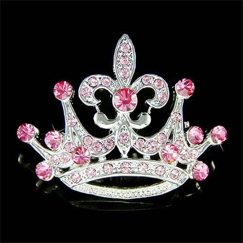 2 in 1 Swarovski Crystal Pink Crown Fleur De Lis Pendant Brooch