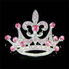 2 in 1 Swarovski Crystal Pink Crown Fleur De Lis Pendant Brooch