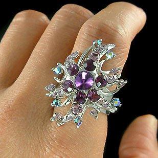 Purple Swarovski Crystal Snowflake Sunburst Cocktail Party Ring