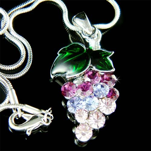 Juicy Grape Fruite Purple Swarovski Crystal Necklace