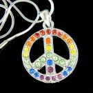 Swarovski Crystal 60's Rainbow Peace Sign Symbol Boho Necklace