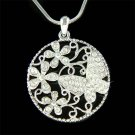 Swarovski Crystal Filigree Round Swirl Flower Butterfly Necklace