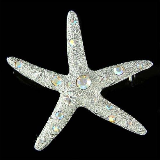 Beach Wedding Swarovski Crystal Bridal Starfish Brooch for Dress