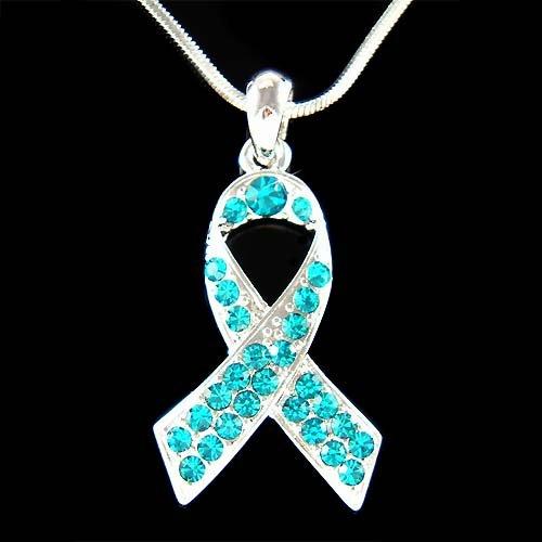 Teal Swarovski Crystal Ovarian Cervical Cancer Ribbon Necklace