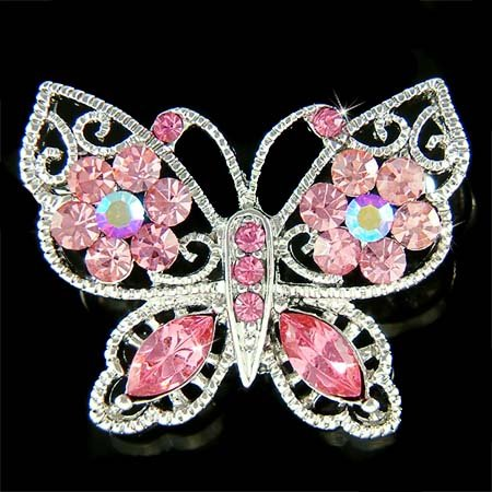 Pink Bridal Wedding Filigree Swarovski Crystal Butterfly Brooch