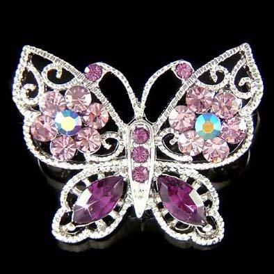 Purple Filigree Swarovski Crystal Cutout Butterfly Flower Brooch