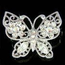 Clear Filigree Butterfly Flower Swarovski Crystal Bridal Brooch