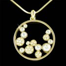 Eternity Gold Swarovski Crystal Floating Circle of Love Necklace