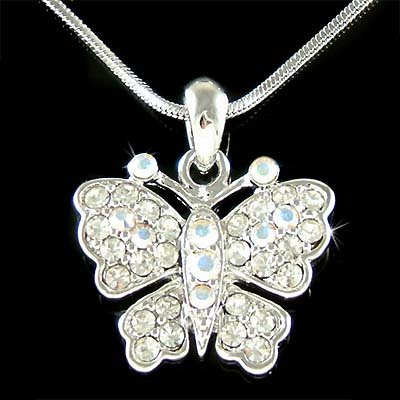 Elegant Bride Swarovski Crystal Clear Butterfly Pendant Necklace