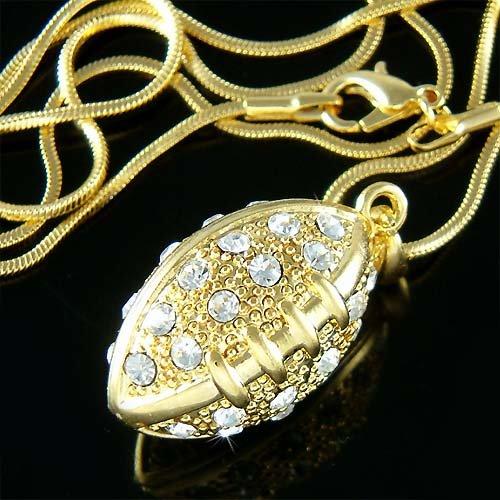 Gold 3D American Football Swarovski Crystal Pendant Necklace