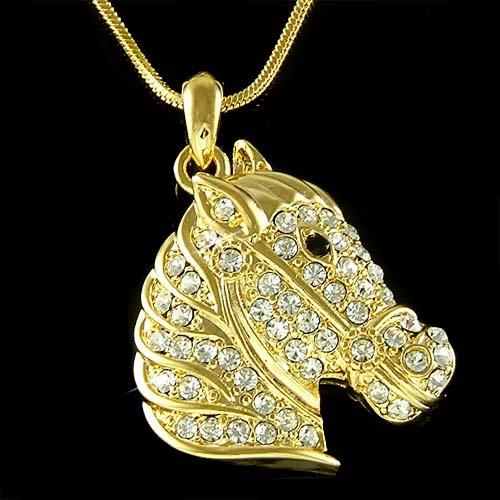 Gold Western Handsome Horse Swarovski Crystal Pendant Necklace