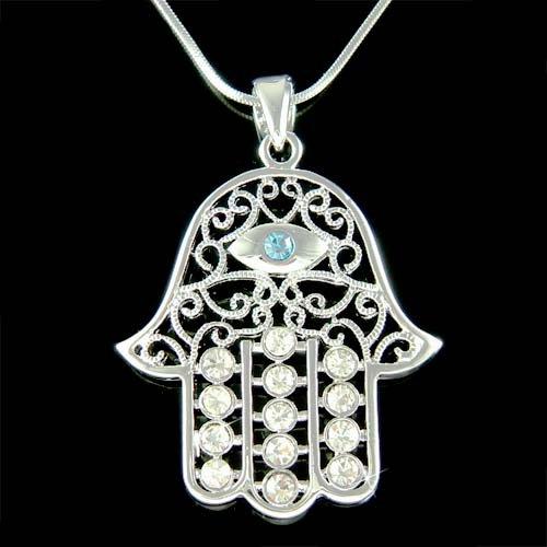Crystal Jewish Hamsa Hamesh Fatima Hand Evil Eye Silver Necklace