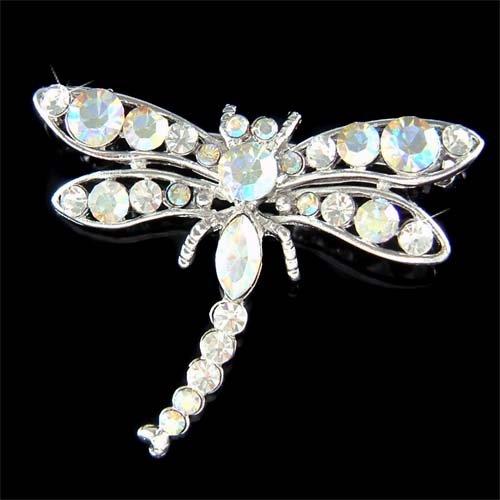 Swarovski Crystal Bridal Wedding Dragonfly Flower Bouquet Brooch