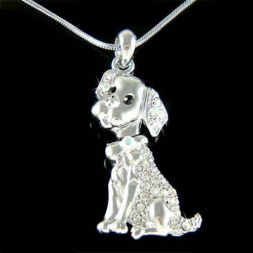 Swarovski Crystal Labrador Retriever Puppy Dog Pendant Necklace