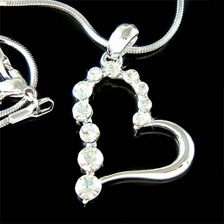 Classy Everyday Cut Out Heart Swarovski Crystal Pendant Necklace