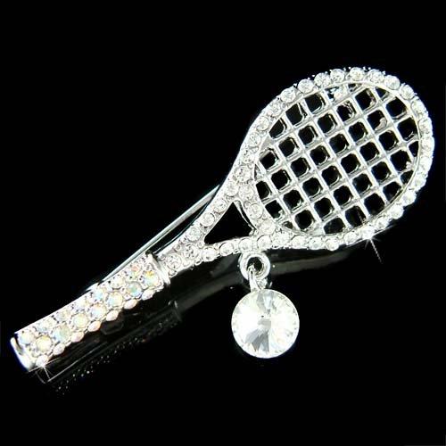 Swarovski Crystal Tennis Racket Racquet & Ball Brooch