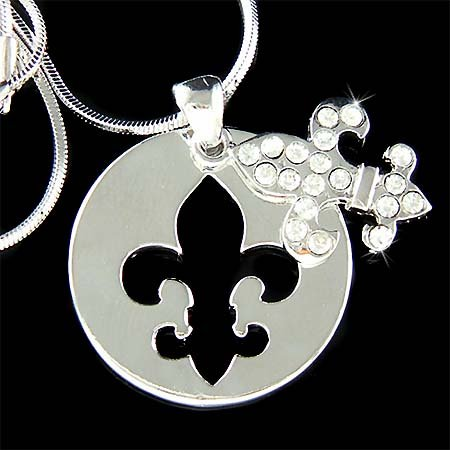Swarovski Crystal Round Dog Tag Fleur de Lis Pendant Necklace