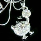Cute Swarovski Crystal Goose Duck Easter Duckie Pendant Necklace