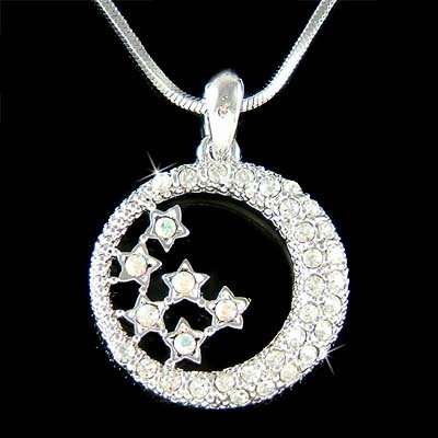 Swarovski Crystal Clear Crescent Moon Star Pendant Necklace