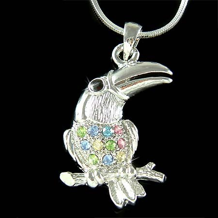 Tropical Toucan Swarovski Crystal Bird Pendant Necklace