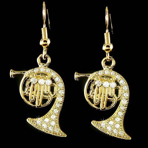 Gold Brass French Horn Music Band Swarovski Crystal Earrings