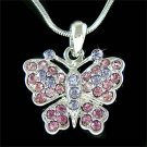 Simple Bride Purple Swarovski Crystal Butterfly Pendant Necklace