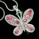 Bridal Wedding Pink Swarovski Crystal Butterfly Pendant Necklace