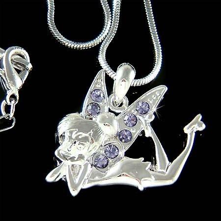 Purple Tinker Bell Swarovski Crystal Tinkerbell Fairy Necklace