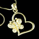 Gold Cut-out Heart Butterfly Swarovski Crystal Pendant Necklace